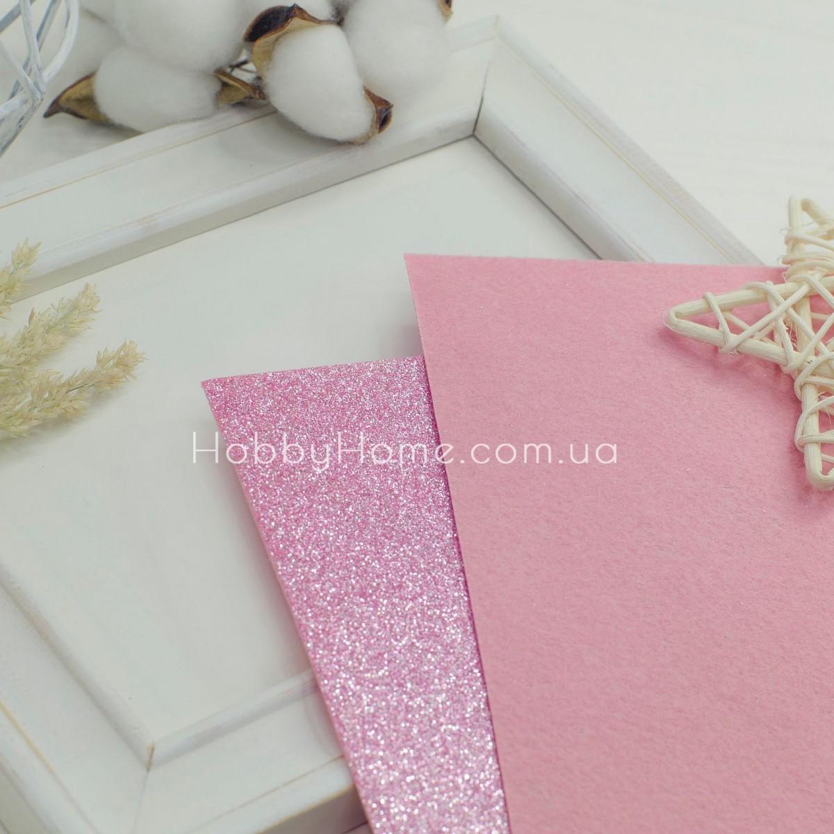 Дрібний гліттер на жорсткому фетрі , рожевий