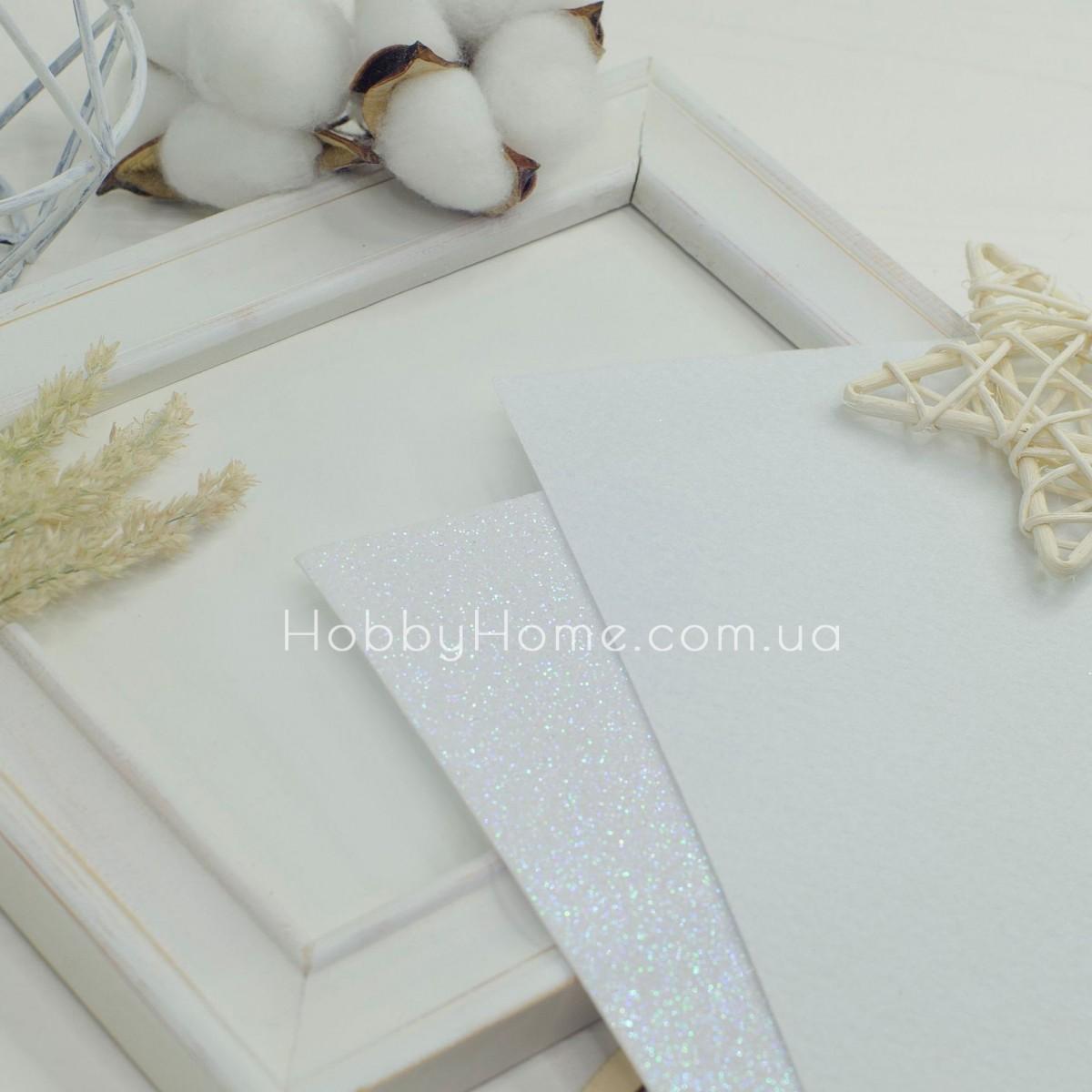 Дрібний гліттер на жорсткому фетрі , білий