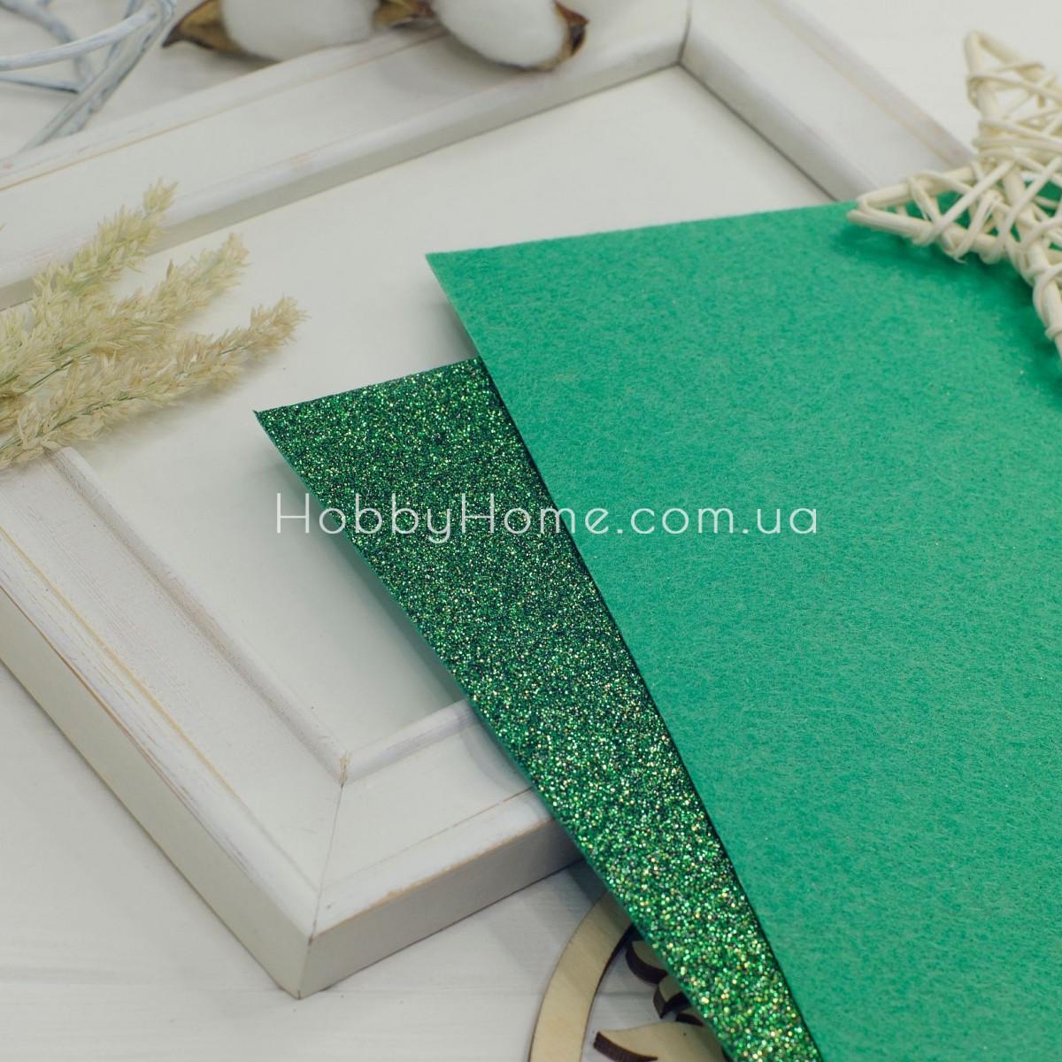 Дрібний гліттер на жорсткому фетрі , зелений