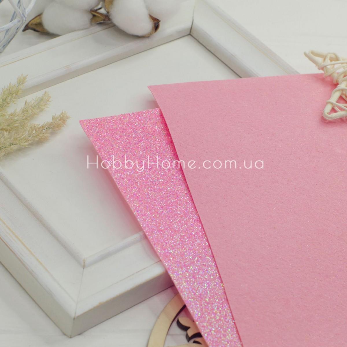 Дрібний гліттер на жорсткому фетрі , ніжно рожевий