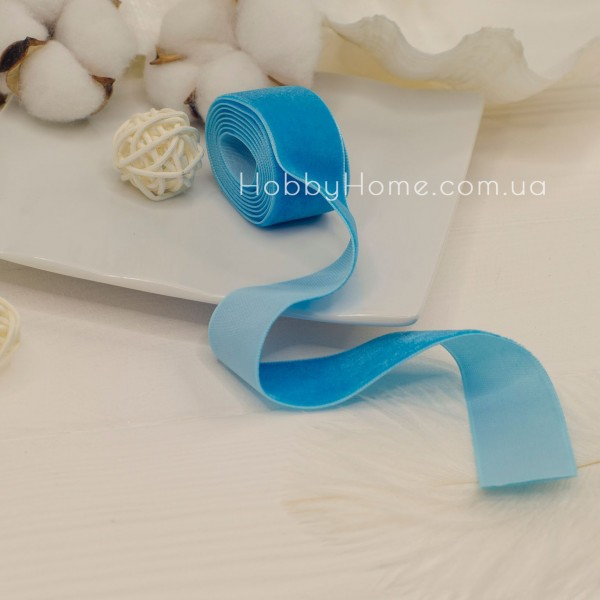 Стрічка оксамитова 2,5см , блакитна