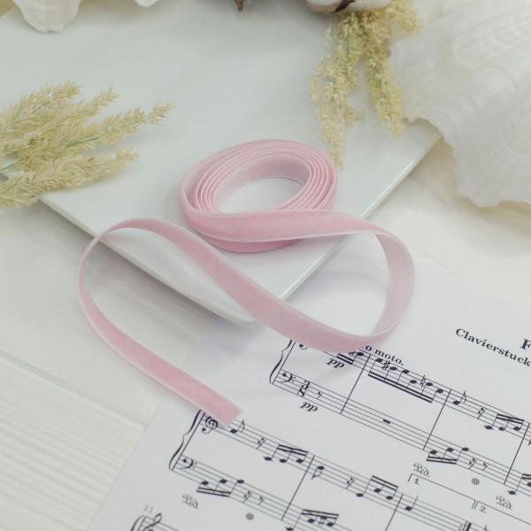 Стрічка оксамитова 1см , ніжно рожева