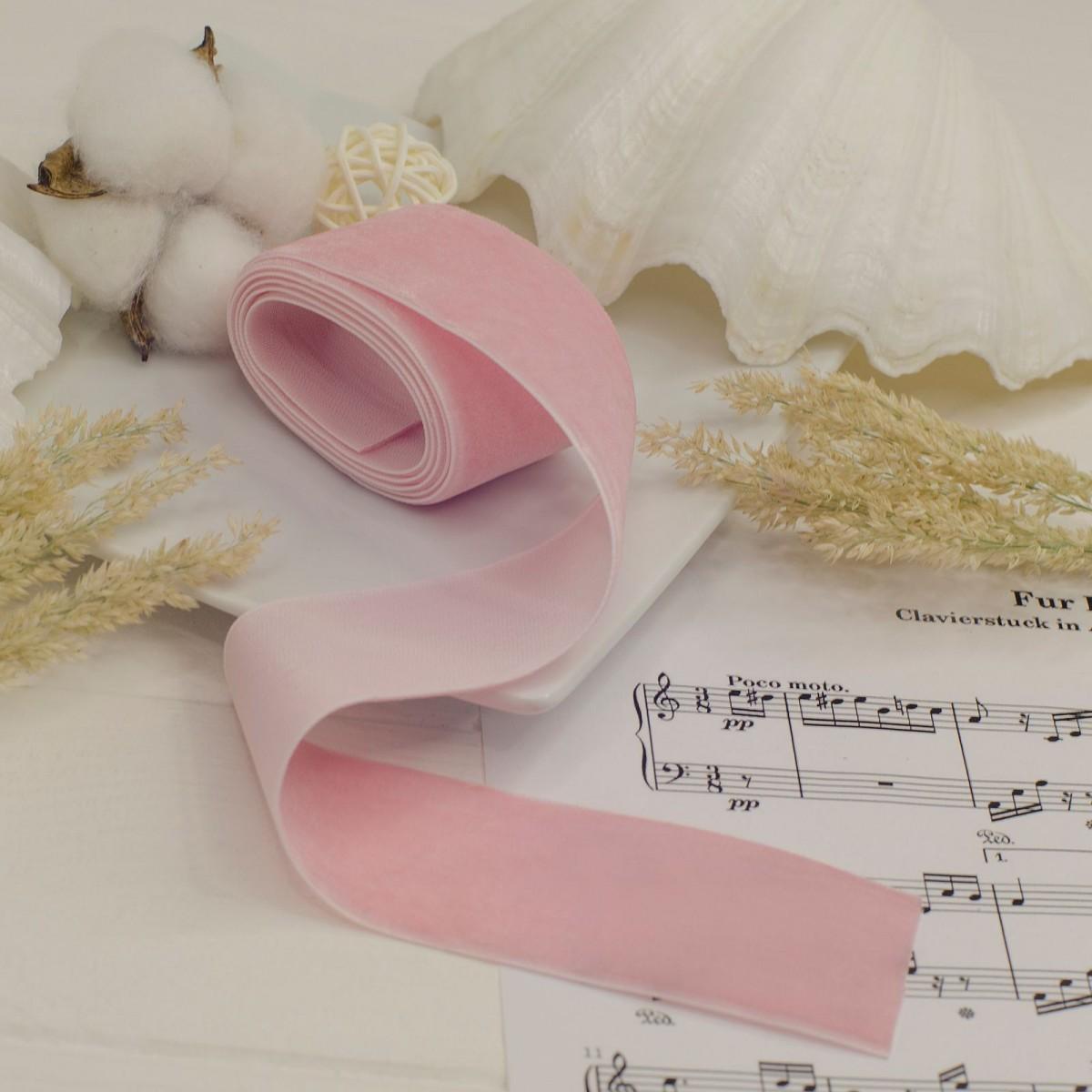 Стрічка оксамитова 4см , ніжно рожева