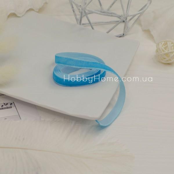 Стрічка оксамитова 1см , блакитна
