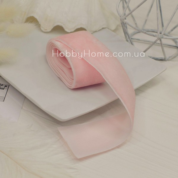 Стрічка оксамитова 4см , світло рожева
