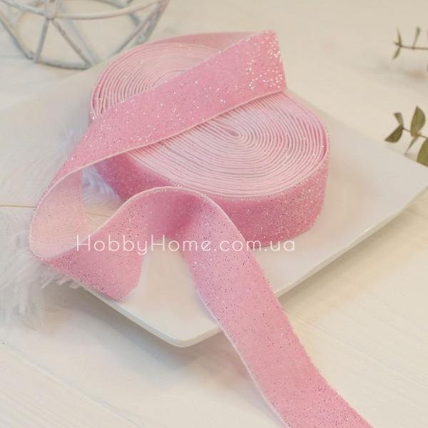 Стрічка оксамитова з блиском 2,5см, рожева зі сріблом 50см