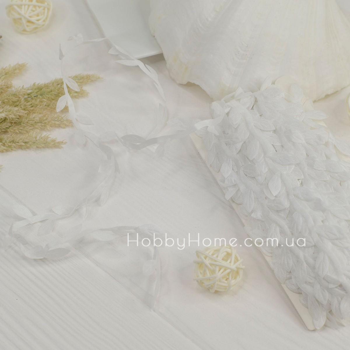 Грецька стрічка з листочками , біла