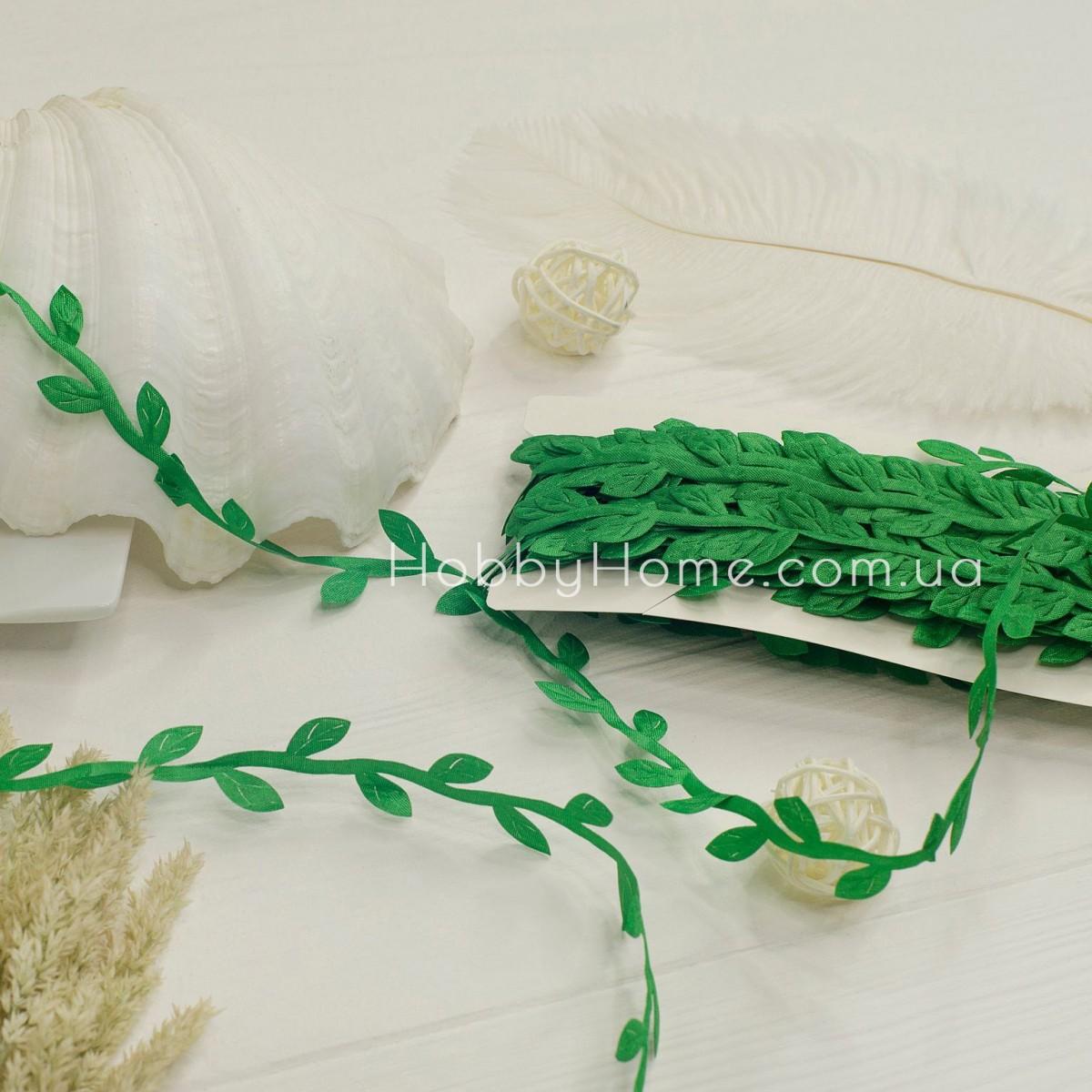 Грецька стрічка з листочками , зелена