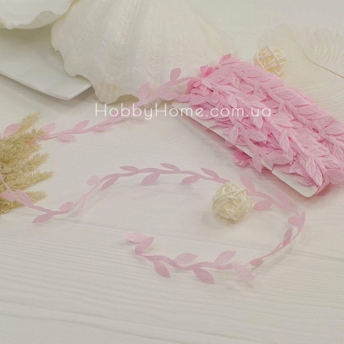 Грецька стрічка з листочками , ніжно рожева
