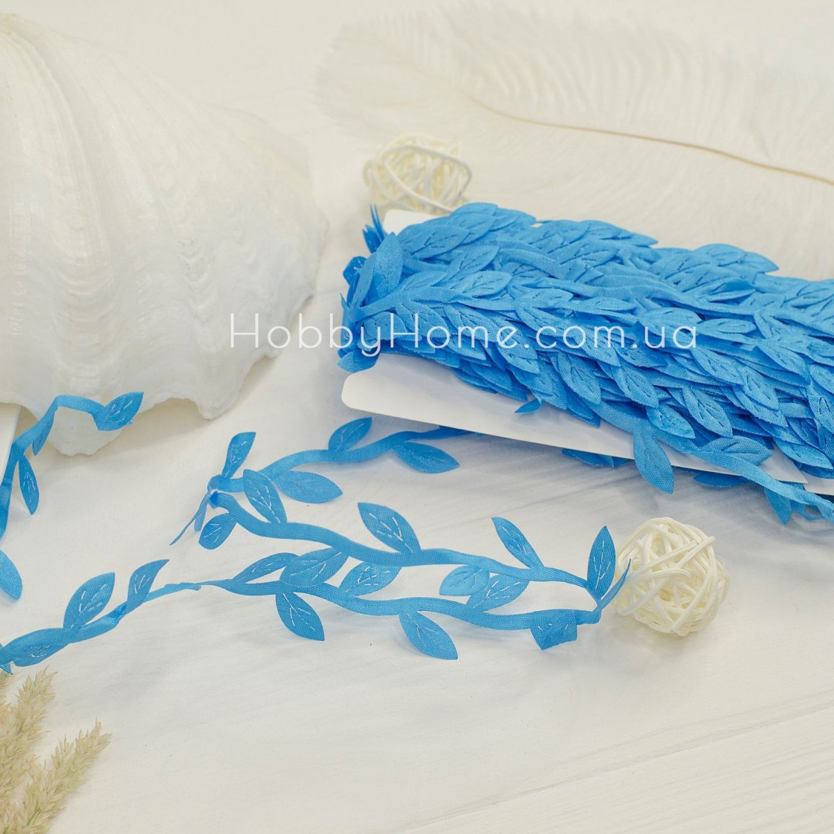 Грецька стрічка з листочками , синя
