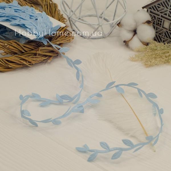 Грецька стрічка з листочками , блакитна