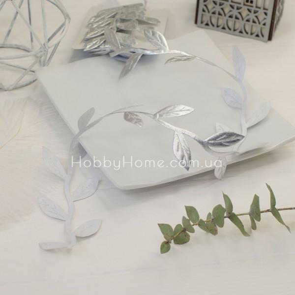 Грецька стрічка Максі з листочками , срібло