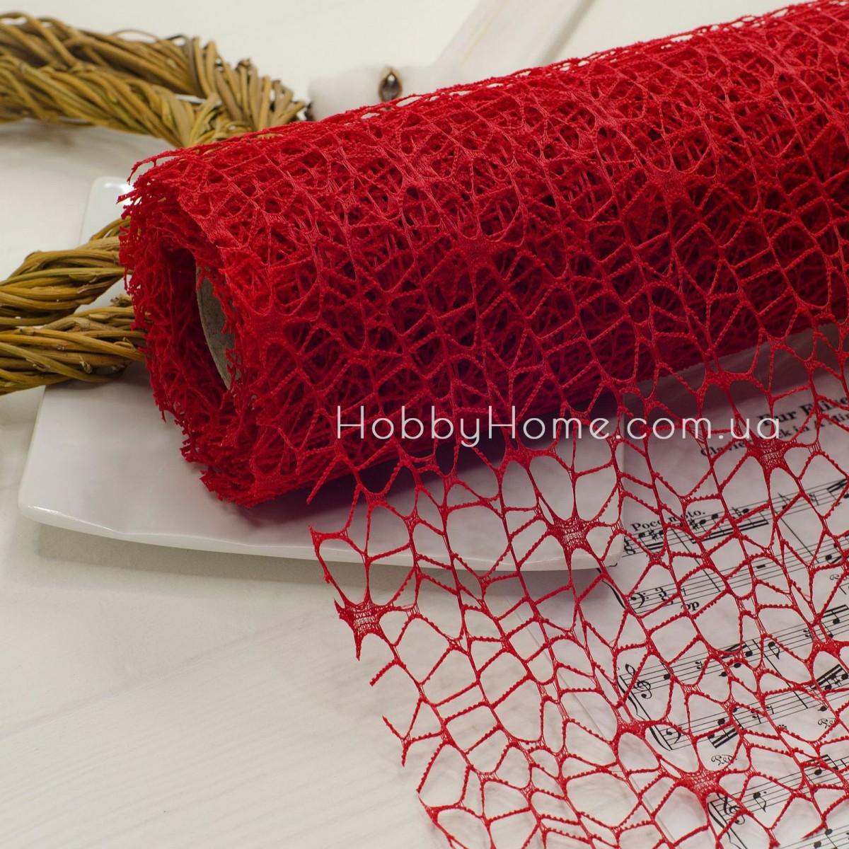Стрічка флористична павутинка 10*50 , червона