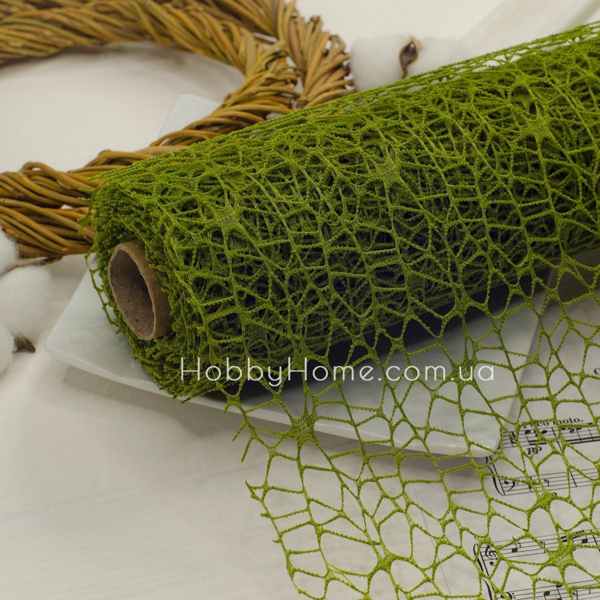 Стрічка флористична павутинка 10*50 , темно зелена