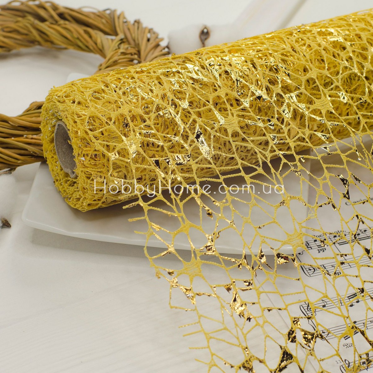 Стрічка флористична павутинка 10*50 , беж з золотом