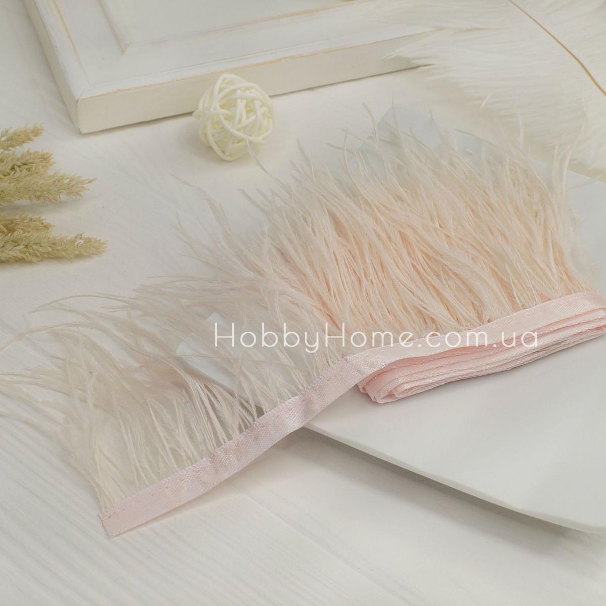 Пір'яна стрічка страуса 8-9см , молочна