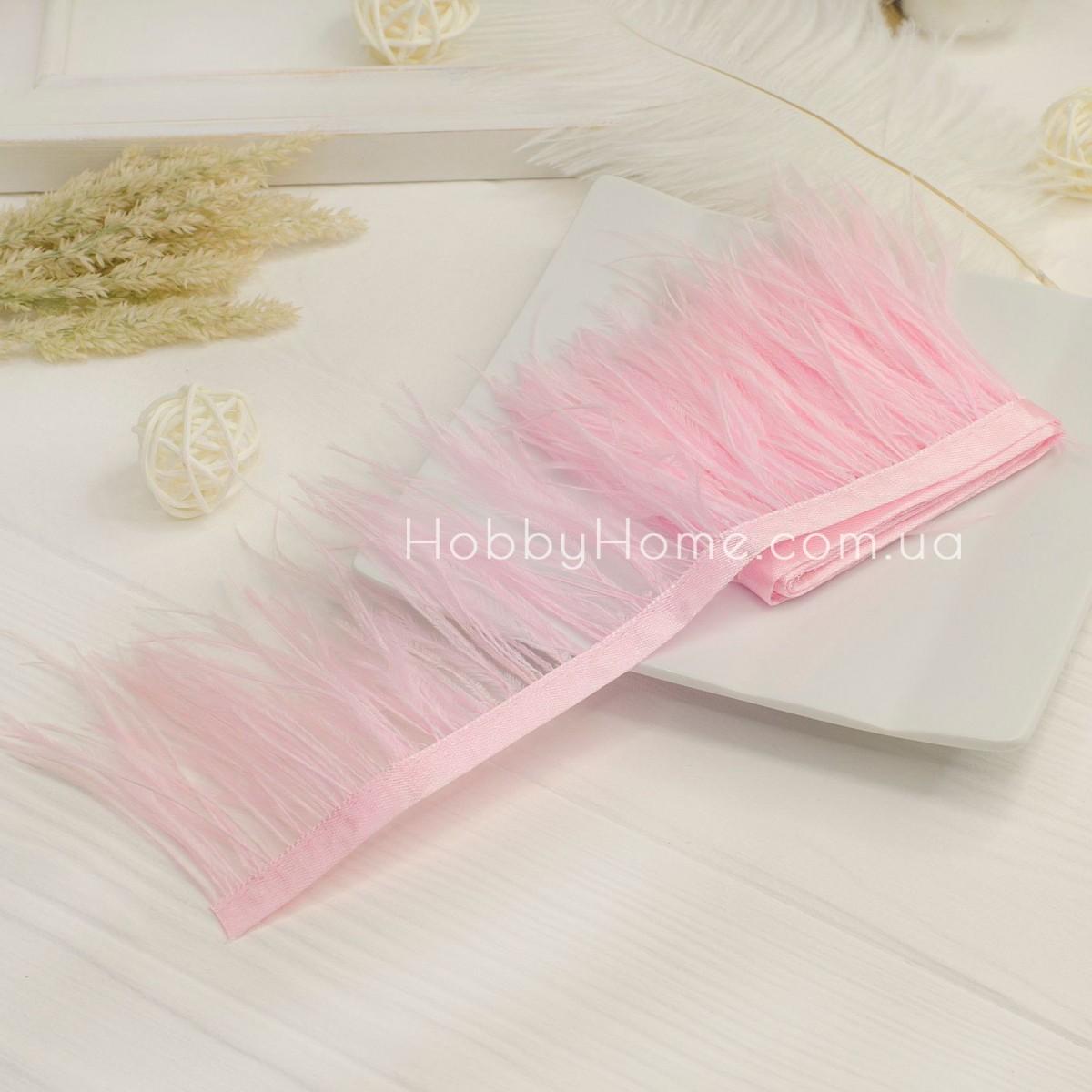 Пір'яна стрічка страуса 8-9см , ніжно рожева