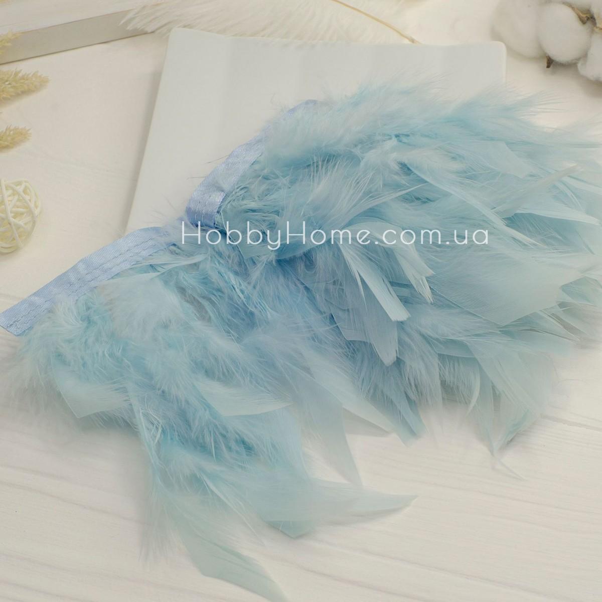 Пір'яна стрічка 15см індик , блідо блакитна