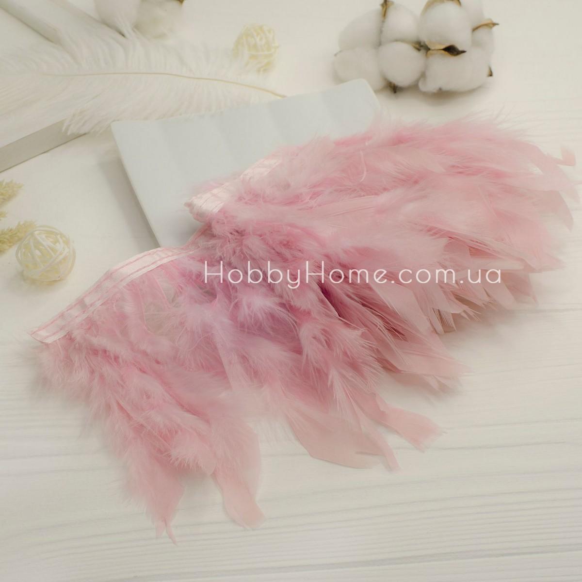Пір'яна стрічка 15см індик , блідо рожева