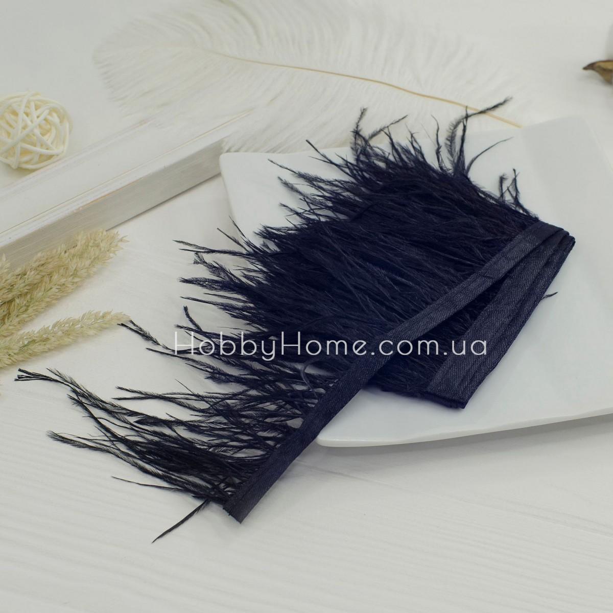 Пір'яна стрічка страуса 8-9см , чорна