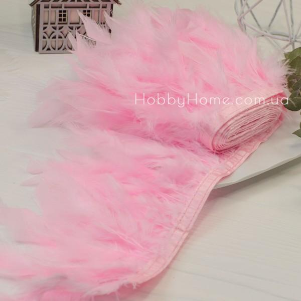 Пір'яна стрічка 15см індик , рожева