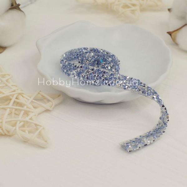 Стразова стрічка, блакитний і срібло