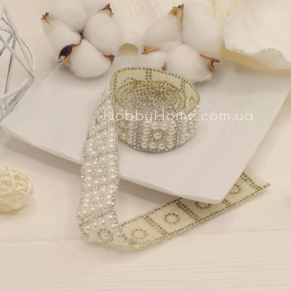 Стразового стрічка Перлина 2,4см , біла