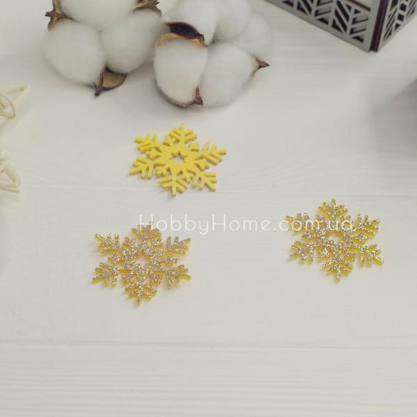 Гліттерна сніжинка 4см золото