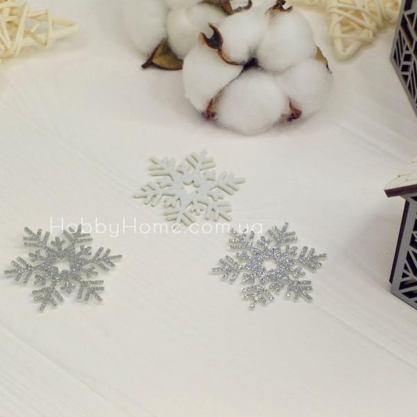 Гліттерна сніжинка 4см срібло