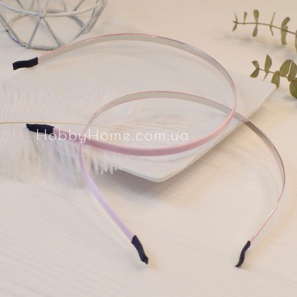 Обруч основа метал в атласі 0,7см рожевий