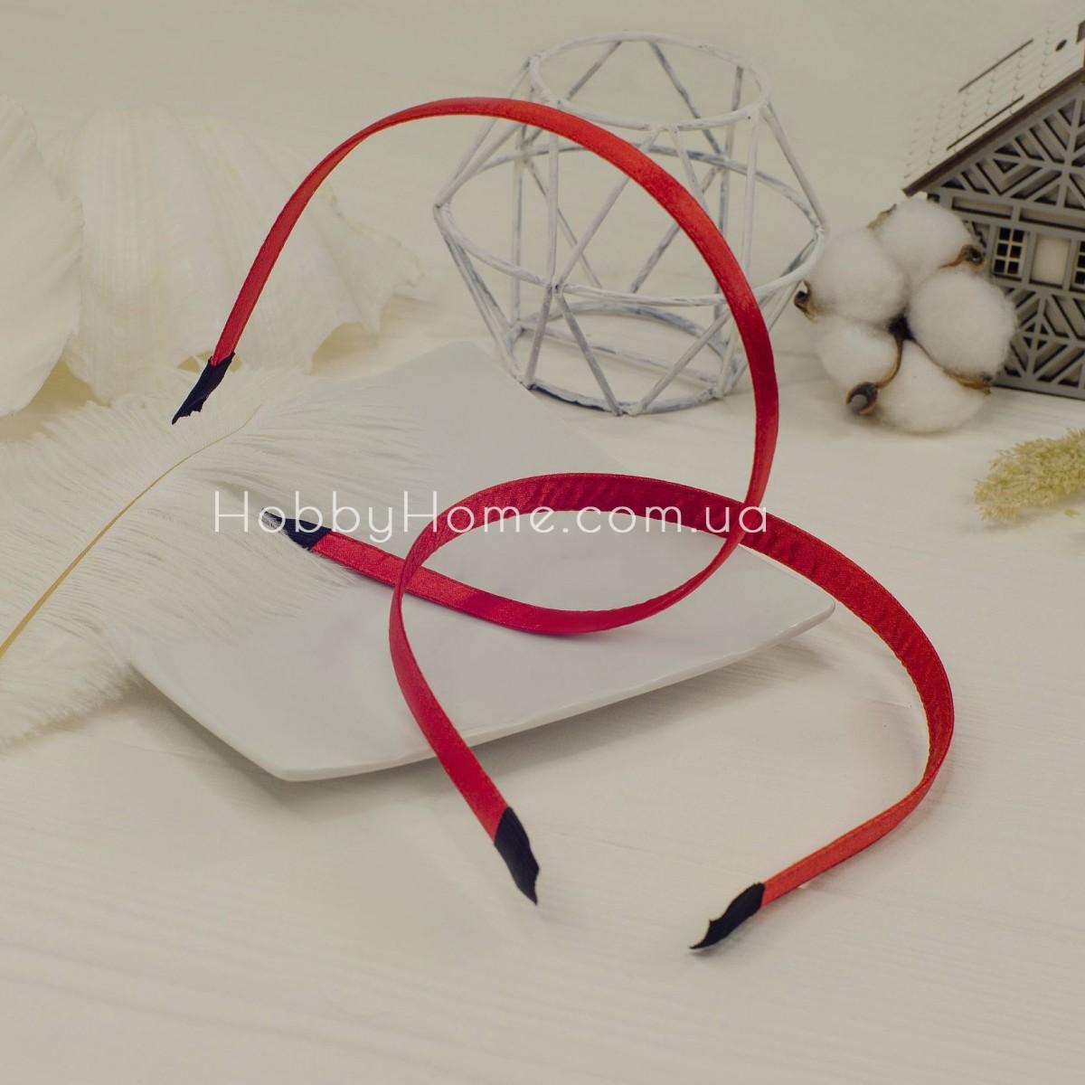 Обруч основа метал в тканини 1см червоний