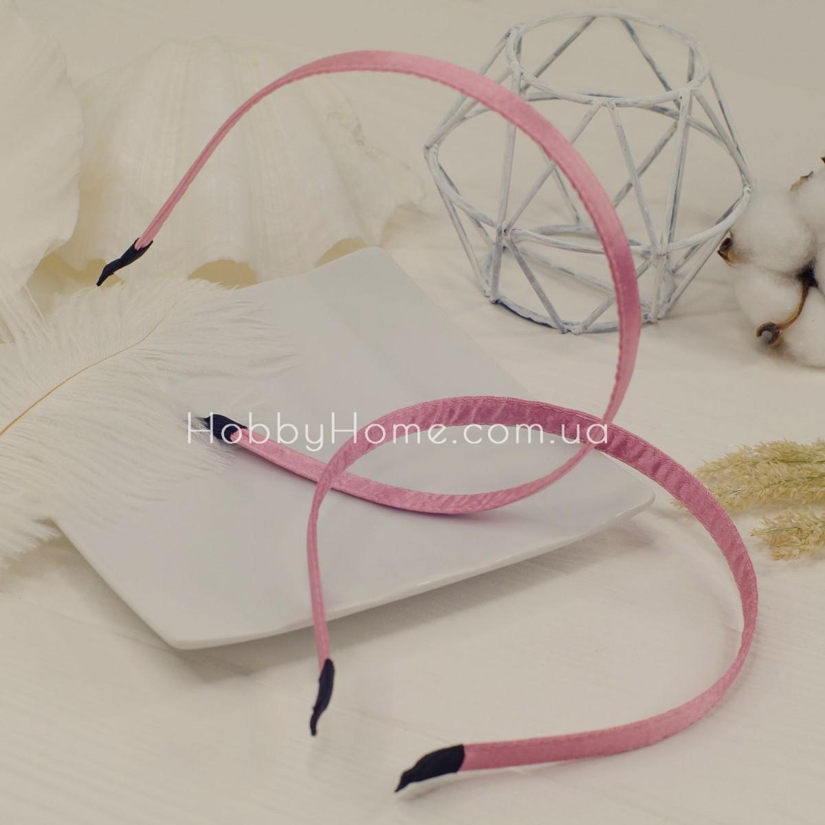 Обруч основа метал в тканини 1см рожевий