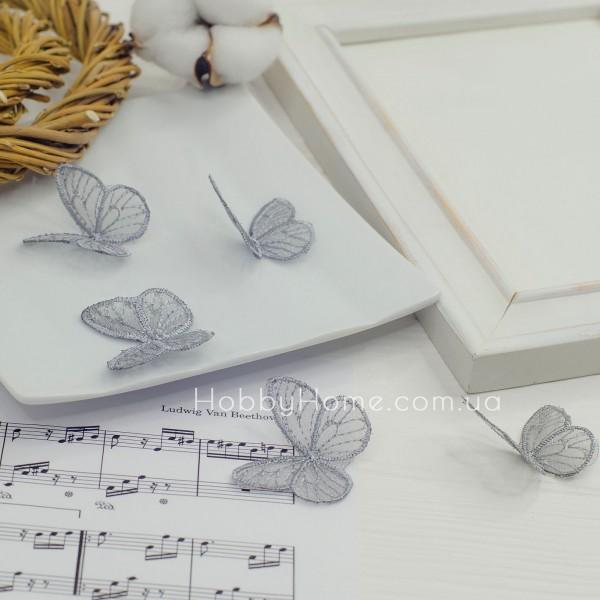 Бабочки ажурные , серебро
