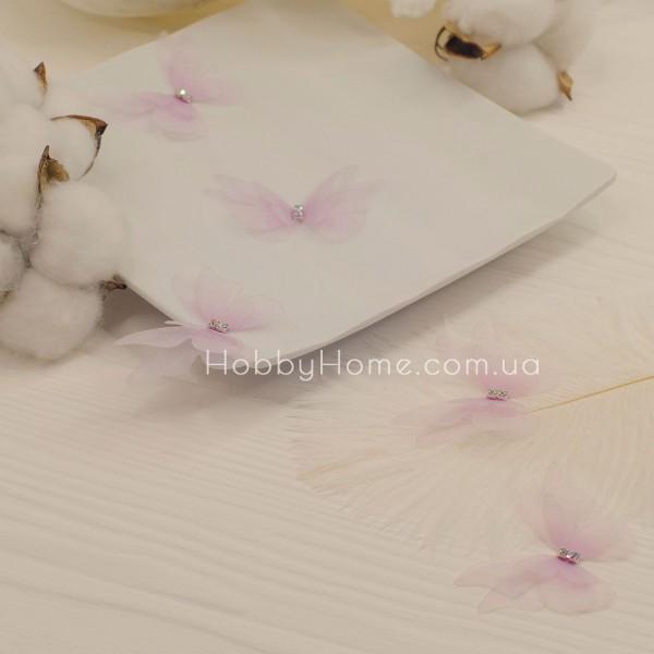 Метелики шифонові Пухнасті 3 крила , рожеві