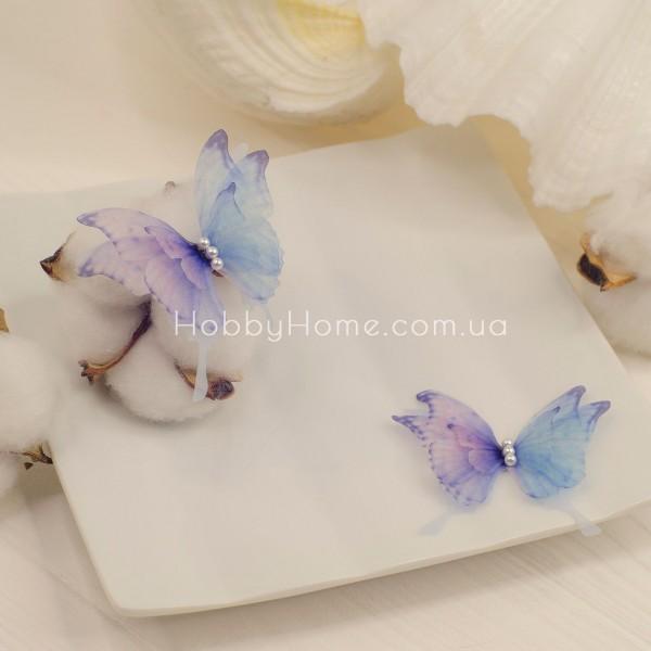 Метелики шифонові Пухнасті 4 крила , градієнт синього