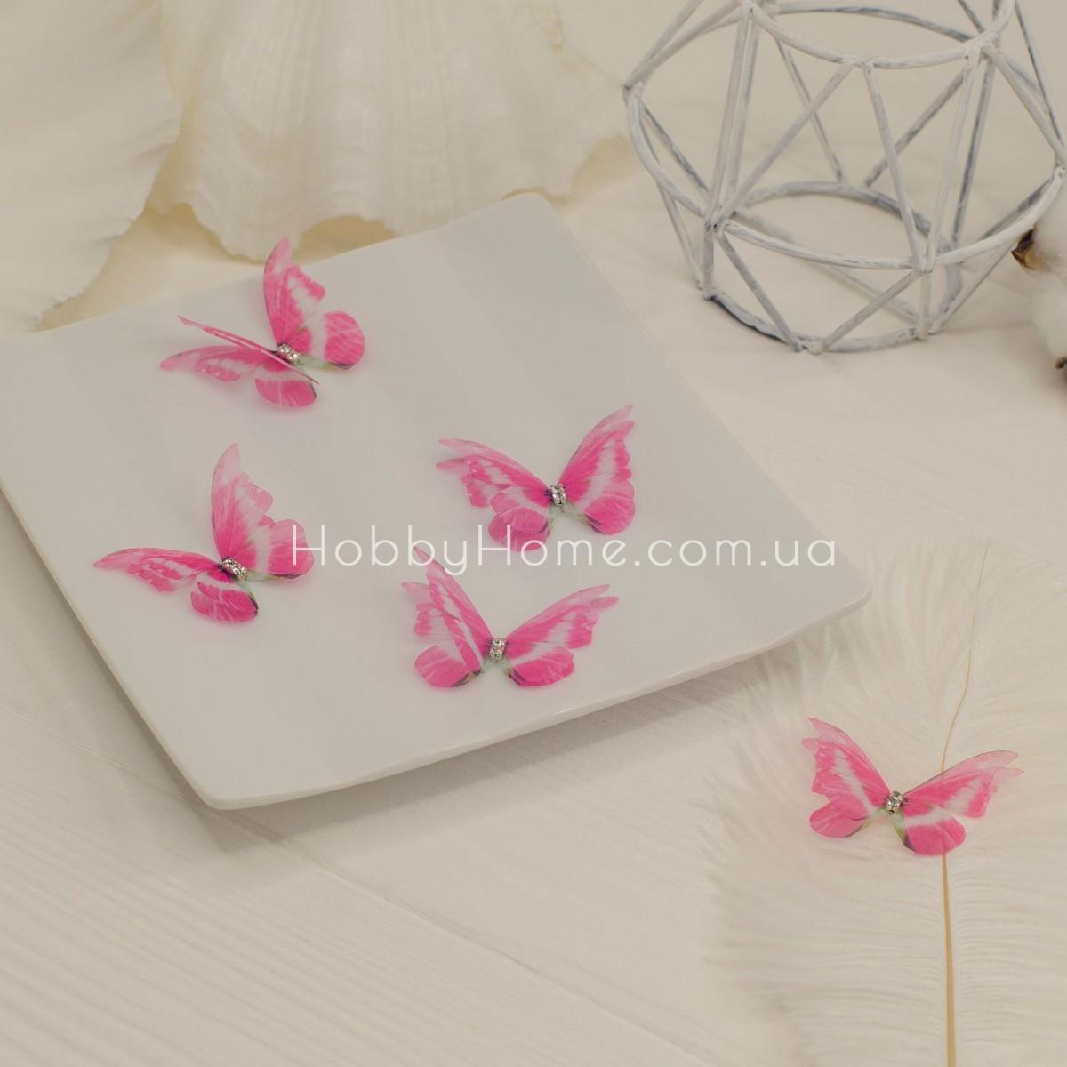 Метелики шифонові зі стразами , рожеві