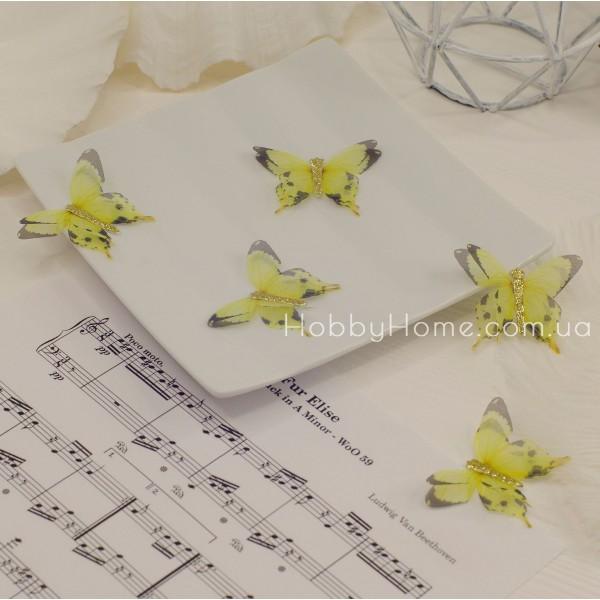 Метелики шифонові з гліттером , жовті