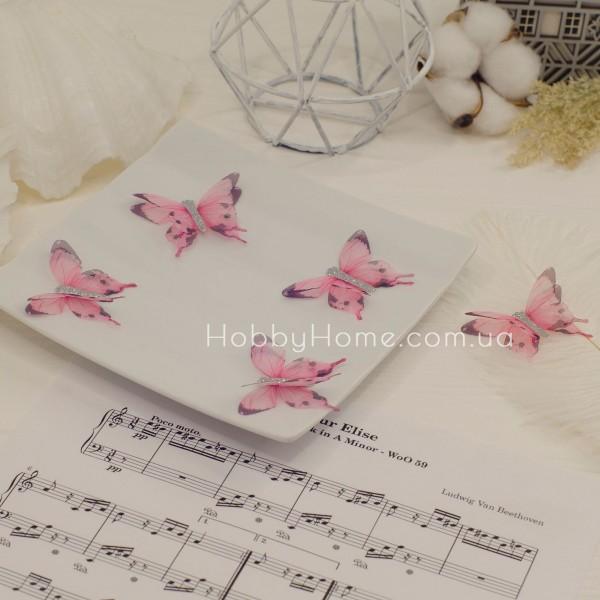Метелики шифонові з гліттером , рожеві