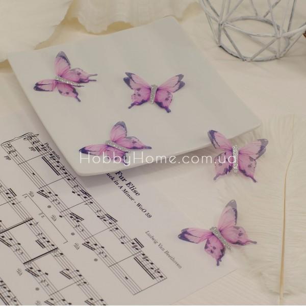 Метелики шифонові з гліттером , фіолетові