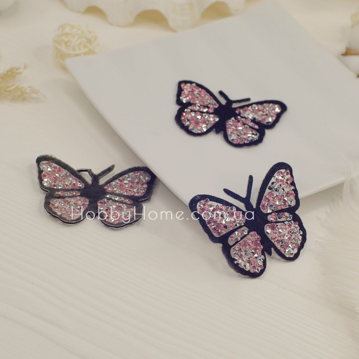 Метелик стразовий , рожева