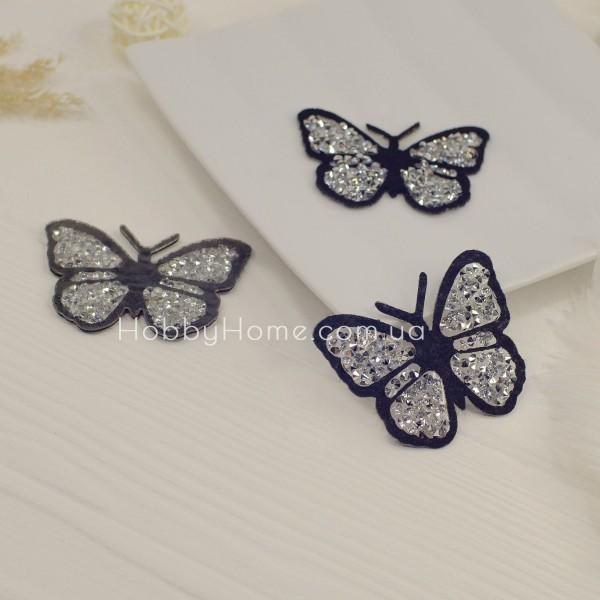 Метелик стразовий , срібло