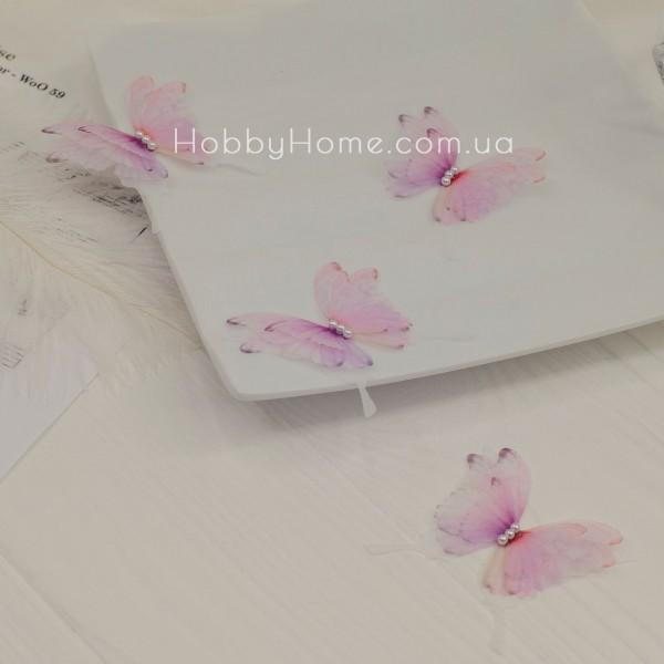 Метелики шифонові Пухнасті 4 крила , градієнт рожевий