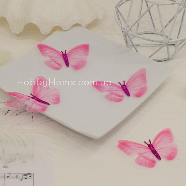 Метелики шифонові з гліттером , ніжно рожеві