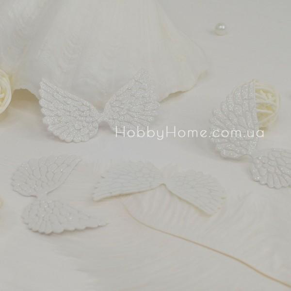 Патчи крылья большие глиттерные , белые