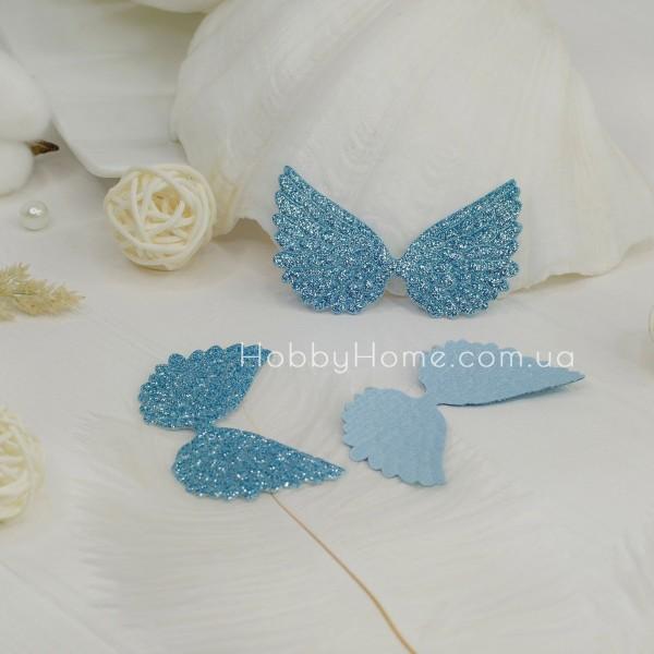 Патчи крылья большие глиттерные , голубые