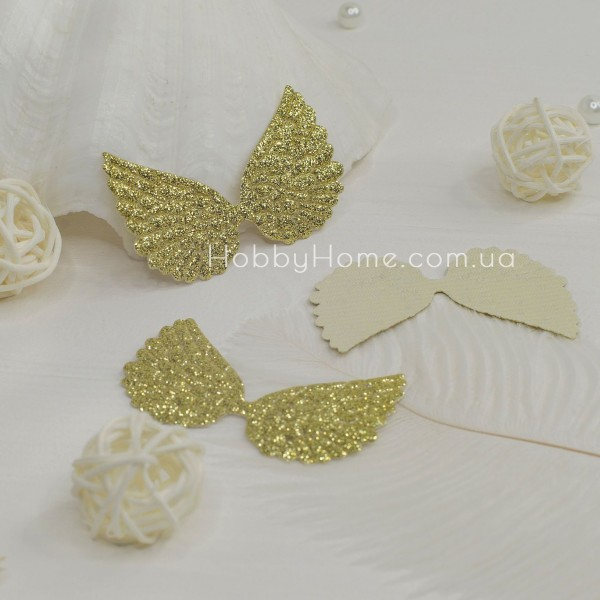 Патчі крила великі гліттерні , золото