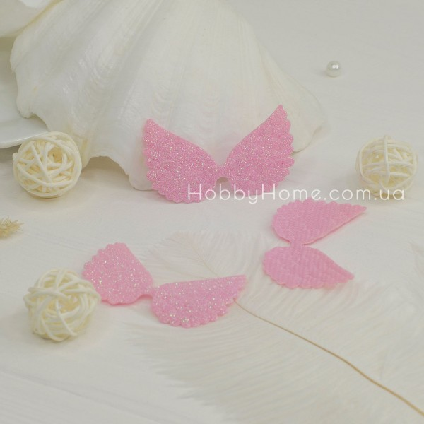 Патчи крылья большие глиттерные , розовые
