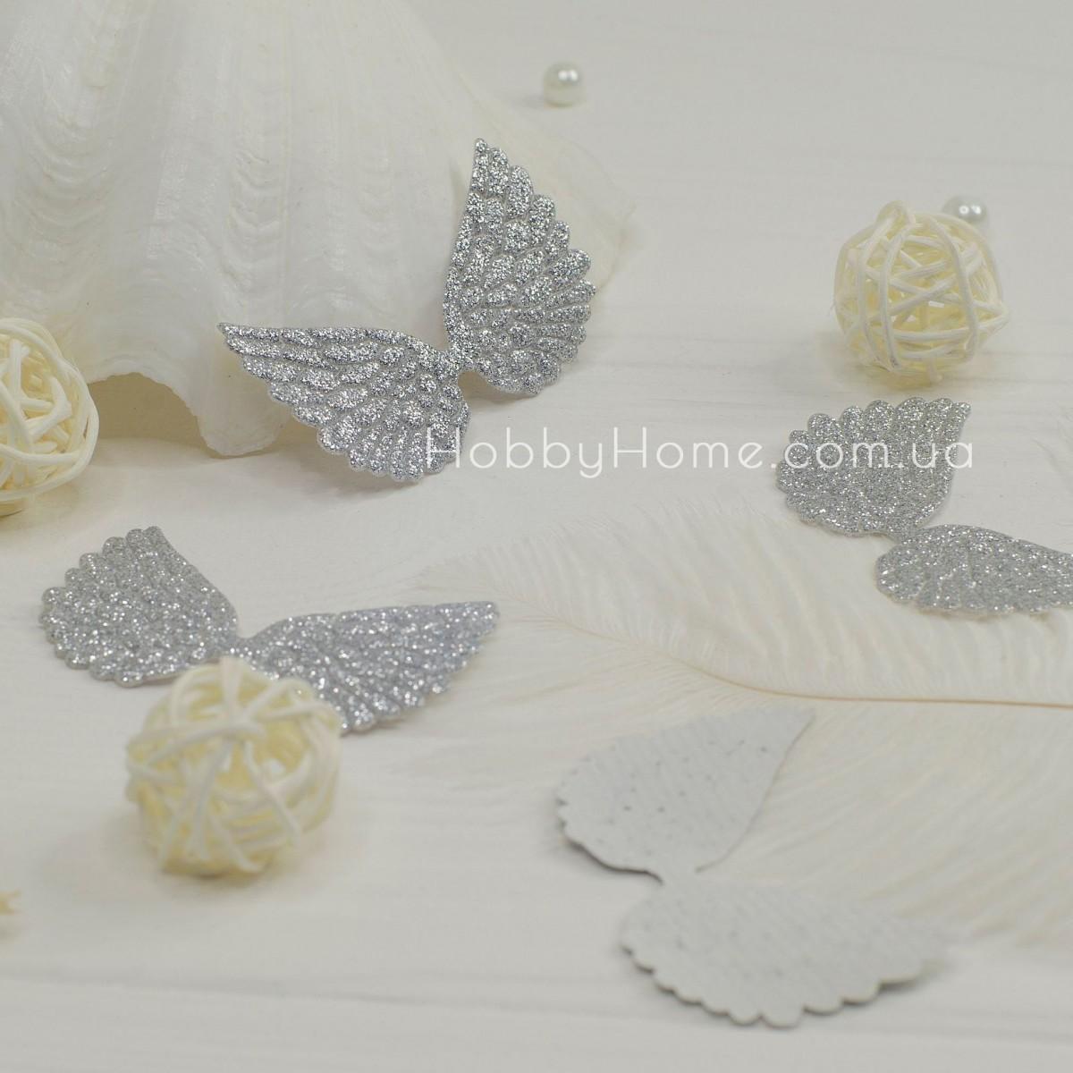 Патчі крила великі гліттерні. срібло