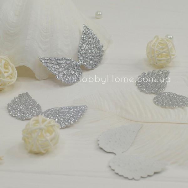 Патчи крылья большие глиттерные , серебро