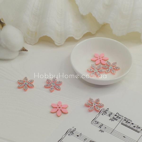 Патч цветок 22мм , бледно розовый
